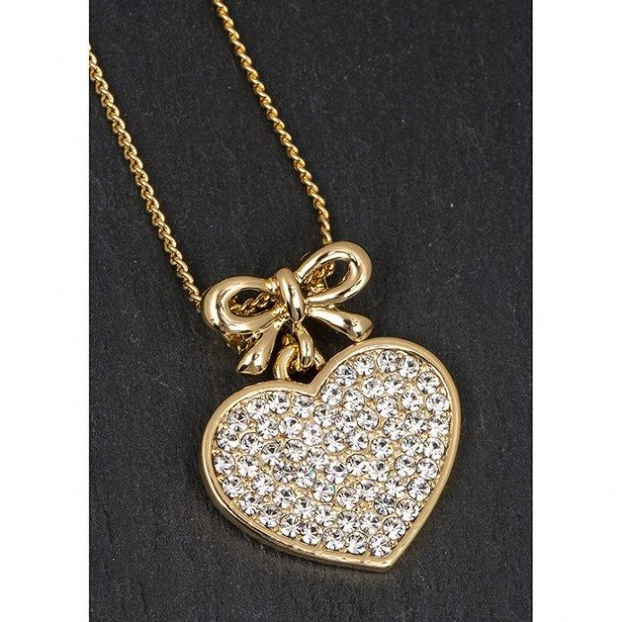 Gold Plated Bow Hanging Heart Necklace
